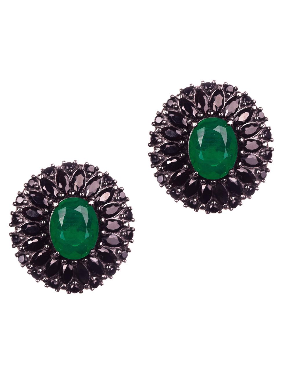 Brinco de prata oval com esmeraldas e espinélios