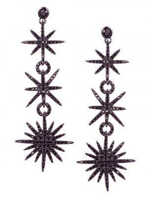 Brinco estrelas em prata com ródio negro e espinélios