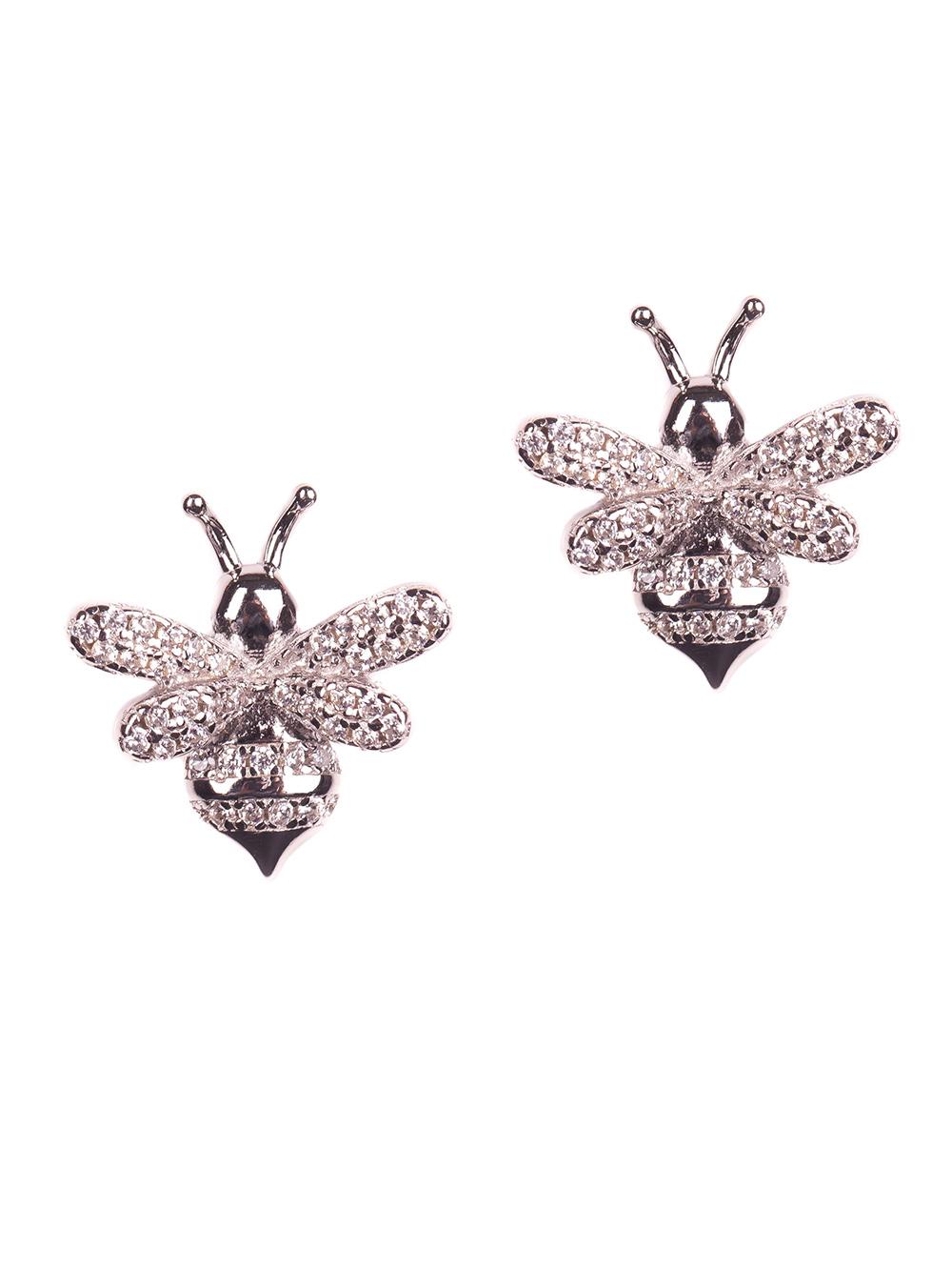 Brinco de abelha em prata com zircônias