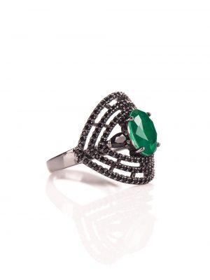 Anel em prata com esmeralda e espinélios