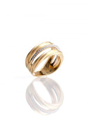 Anel Triplo Ouro Amarelo Fosco E Ouro Branco Com Diamantes