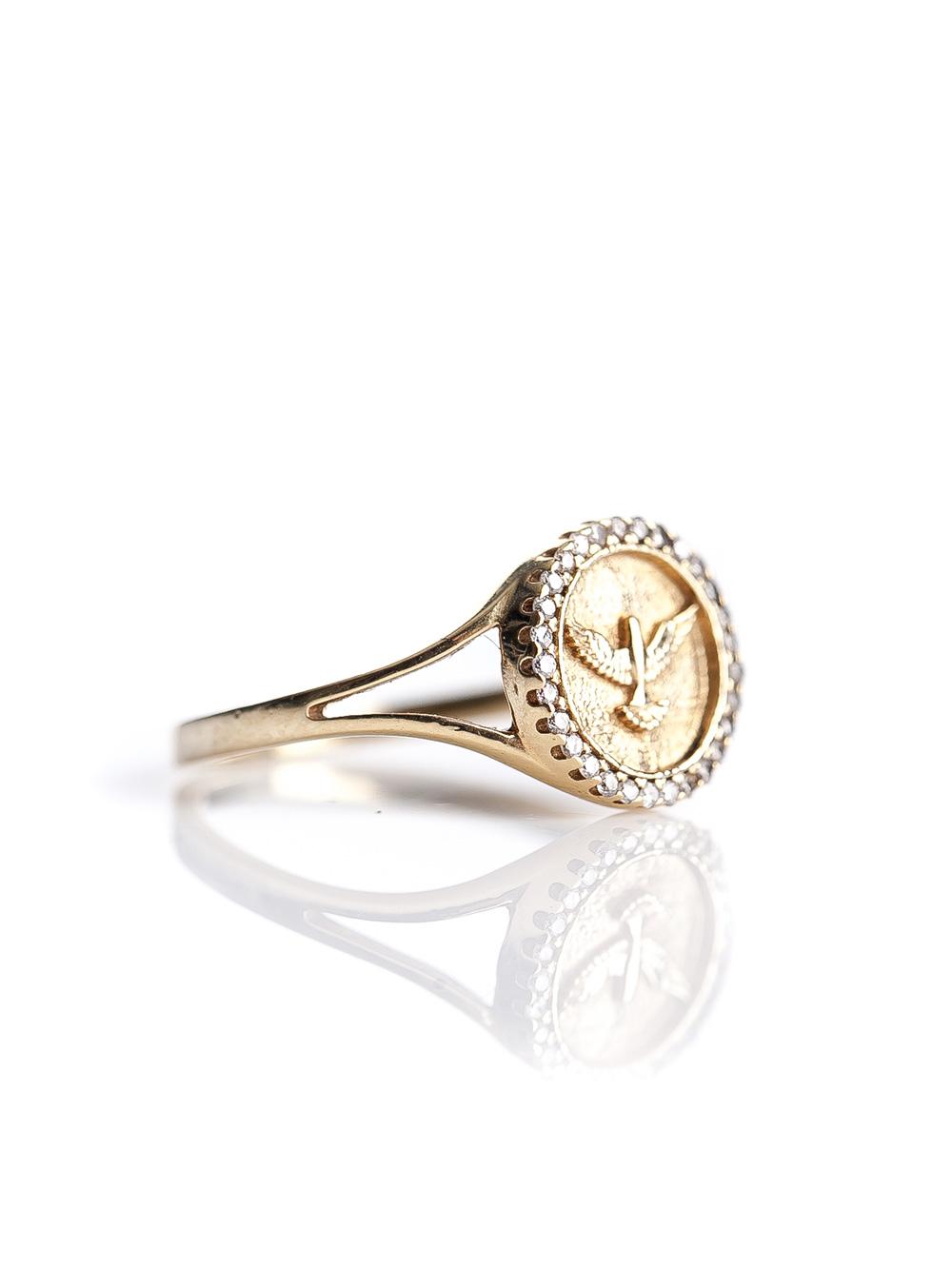Anel espirito santo, confeccionado em ouro amarelo 18k com 15 pontos de diamantes