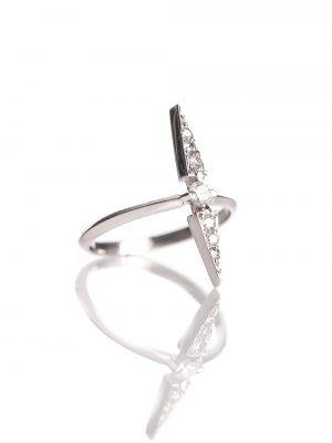 Anel Lança Ouro Branco Com Diamantes