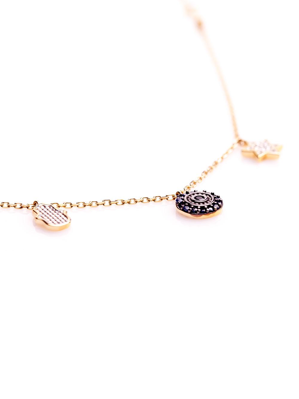 Pulseira proteção, confeccionada em ouro amarelo 18k com safiras e 0,5 pontos de diamantes