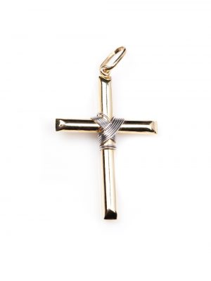 Crucifixo em ouro amarelo e branco 18k