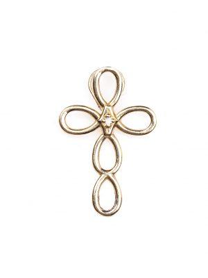 Crucifixo em ouro amarelo 18k com 1 ponto de diamante