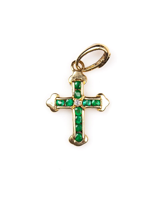 Crucifixo em ouro amarelo 18k com 10 pontos de esmeraldas e 1 ponto de diamante