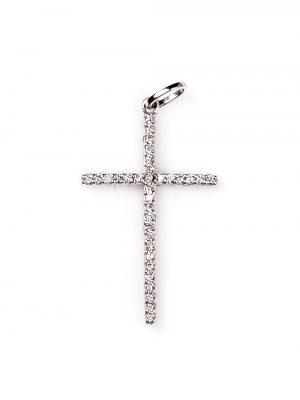 Crucifixo em ouro branco 18k com 35 pontos de diamantes