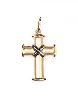 Crucifixo em ouro amarelo e ouro branco 18k