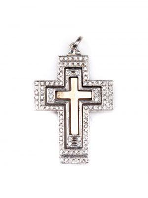Crucifixo em ouro branco e ouro rose 18k com 58 pontos de diamantes