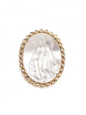 Pingente de Nossa Senhora Das Graças com madrepérola e 30 pontos de diamantes