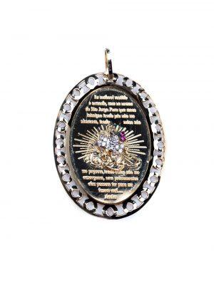 Pingente de São Jorge em ouro amarelo e ouro branco 18k com 7 pontos de diamantes e 3 pontos de rubis