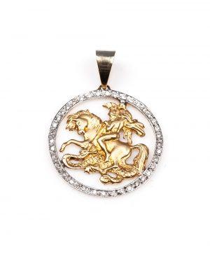 Pingente São Jorge em ouro amarelo e ouro branco 18k com 29 pontos de diamantes