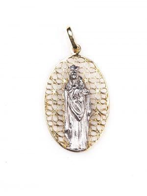 Pingente Santa Maria em ouro amarelo e ouro branco 18k