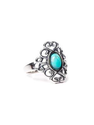 Anel bali em prata com pedra turquesa