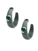Brinco Argola Em Prata Com Goulash Verde E Esmeraldas