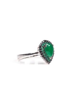 Anel gota em prata rodinada com esmeraldas e espinélios
