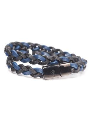 Pulseira em couro preto e azul e aço epoxi preto com duas voltas