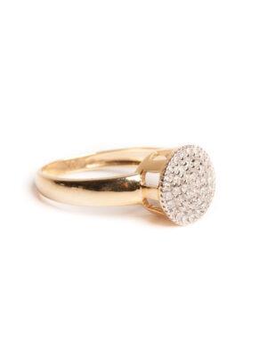 Anel chuveiro em ouro amarelo 18k com 22 pontos de diamantes